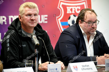 Stefan Effenberg (L), the newly appointed general manager of German third division soccer team KFC Uerdingen, and the club's president Russian investor Mikhail Ponomarev (R) speaks to the media during a press conference in Duesseldorf, Germany, 10 October. Since the beginning of October 2019, former national player Effenberg has been working for KFC Uerdingen 05 as a sports manager to lead the club out of the crisis.
