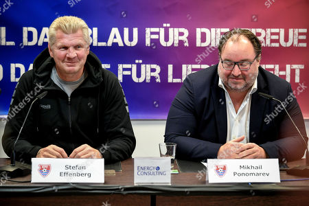 Stock Photo of Stefan Effenberg (L), the newly appointed general manager of German third division soccer team KFC Uerdingen, and the club's president Russian investor Mikhail Ponomarev (R) speaks to the media during a press conference in Duesseldorf, Germany, 10 October. Since the beginning of October 2019, former national player Effenberg has been working for KFC Uerdingen 05 as a sports manager to lead the club out of the crisis.