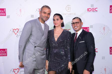 Tony Parker and his wife Axelle Francine with Brahim Asloum