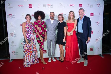 Stock Photo of Rachel Legrain Trapani, Alicia Aylies, Tony Parker, Sylvie Tellier, Sophie Thalmann and Denis Brogniart