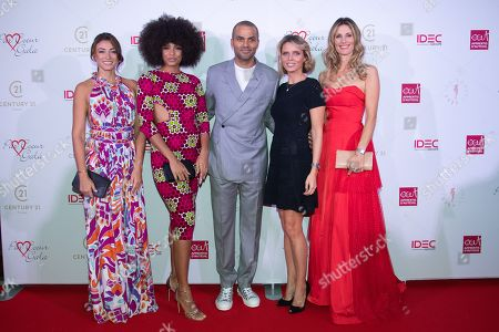 Rachel Legrain Trapani, Alicia Aylies, Tony Parker, Sylvie Tellier and Sophie Thalmann.