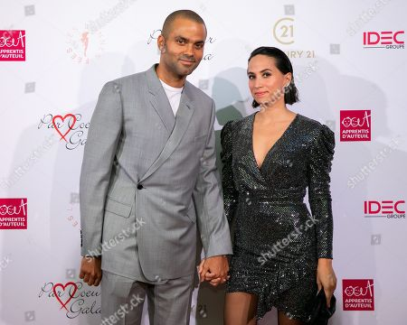 Stock Picture of Tony Parker and his wife Axelle Francine