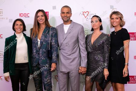 Stock Image of Tony Parker and his wife Axelle Francine with Alexandra Sublet, Marine Lorphelin and Sylvie Tellier