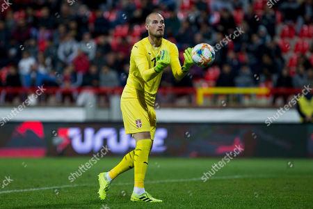 Predrag Rajkovic of Serbia takes the ball