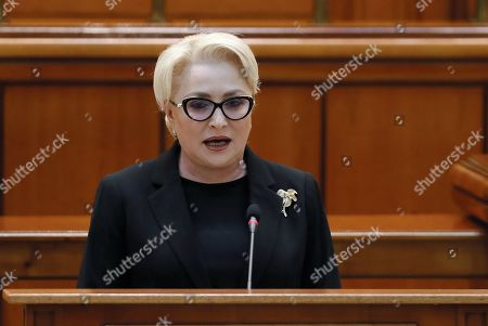 Romania's Prime Minister Viorica Dancila addresses the lawmakers of both parliament chambers as she faces a no-confidence vote, at Parliament Palace in Bucharest, Romania, 10 October 2019. The opposition parties pushed a no-confidence vote against the ruling coalition after the junior partner of the  ruling coalition, ALDE party, pulled out of the government in August, leaving the senior PSD party without a majority. For the no-confidence vote to pass, it needs the support of 233  lawmakers from the total number of 465.