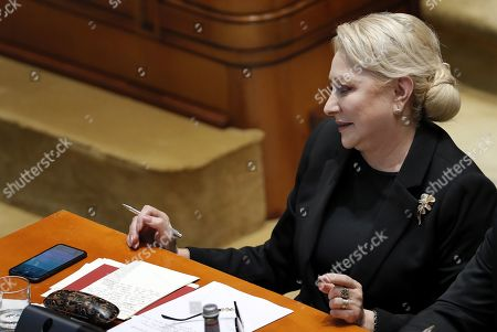 Romania's Prime Minister Viorica Dancila prepares her second defense speech as she faces a no-confidence vote, at Parliament Palace in Bucharest, Romania, 10 October 2019. The opposition parties pushed a no-confidence vote against the ruling coalition after the junior partner of the  ruling coalition, ALDE party, pulled out of the government in August, leaving the senior PSD party without a majority. For the no-confidence vote to pass, it needs the support of 233  lawmakers from the total number of 465.