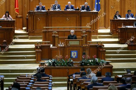 Romania's Prime Minister Viorica Dancila (C) addresses the lawmakers of both parliament chambers as she faces a no-confidence vote, at Parliament Palace in Bucharest, Romania, 10 October 2019. The opposition parties pushed a no-confidence vote against the ruling coalition after the junior partner of the  ruling coalition, ALDE party, pulled out of the government in August, leaving the senior PSD party without a majority. For the no-confidence vote to pass, it needs the support of 233  lawmakers from the total number of 465.