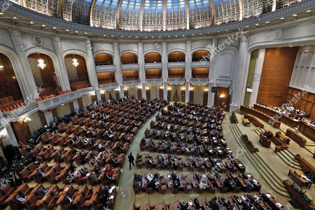 General view of the Deputee Chamber hall during a no-confidence vote against the cabinet led by Viorica Dancila,  at Parliament Palace in Bucharest, Romania, 10 October 2019. The opposition parties pushed a no-confidence vote against the ruling coalition after the junior partner of the  ruling coalition, ALDE party, pulled out of the government in August, leaving the senior PSD party without a majority. For the no-confidence vote to pass, it needs the support of 233  lawmakers from the total number of 465.