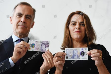 British and Margate based artist Tracey Emin (R) with Bank of England Governor Mark Carney (L) during an unveiling of the new 20 pound note at the Turner Contemporary Museum in Margate, Britain, 10 October 2019.
