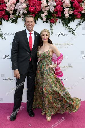 Former Australian Cricketer and Founder of the McGrath Foundation Glenn McGrath and wife Sara Leonardi pose for a photograph during the inaugural Everest Carnival Fashion Lunch at Royal Randwick Racecourse in Sydney, Australia, 10 October 2019.