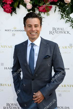 Australian TV personality James Tobin poses for a photograph during the inaugural Everest Carnival Fashion Lunch at Royal Randwick Racecourse in Sydney, Australia, 10 October 2019.