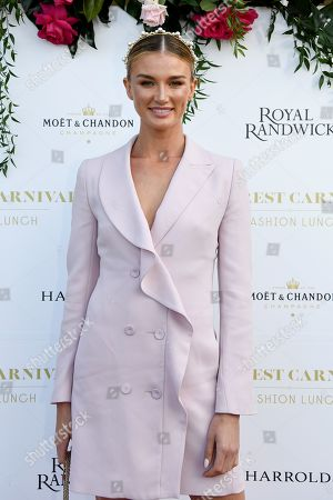 Stock Image of Australian model and athlete Amy Pejkovic poses for a photograph during the inaugural Everest Carnival Fashion Lunch at Royal Randwick Racecourse in Sydney, Australia, 10 October 2019.