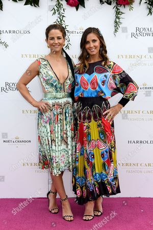 Jockey Michelle Payne and Cathy McEvoy, wife of champion Jockey Kerrin McEvoy, pose for a photograph during the inaugural Everest Carnival Fashion Lunch at Royal Randwick Racecourse in Sydney, Australia, 10 October 2019.