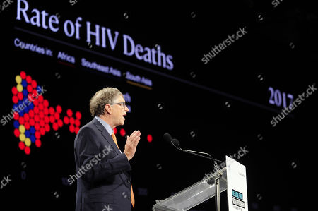Microsoft founder, Co-Chairman of the Bill & Melinda Gates Foundation Bill Gates delivers a speech during a meeting of international lawmakers, health leaders and people affected by HIV, Tuberculosis and malaria at the congress hall in Lyon, France, 10 October 2019. Lyon is hosting the two day Global Fund event aimed at raising money to help in the global fight against the epidemics.