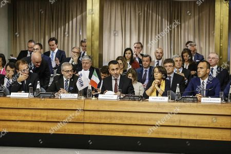 (L-R) Minister of Justice, Alfonso Bonafede, President of the IILA and Ambassador of Paraguay, Roberto Melgarejo, Minister of Foreign Affairs and International Cooperation, Luigi Di Maio, Deputy Minister of Foreign Affairs and International Cooperation, Marina Sereni and Undersecretary of the Ministry of Foreign Affairs and International Cooperation, Manlio Di Stefano during the 9th Italy-Latin America and Caribbean Conference on the theme 'Together for sustainable growth' at the headquarter of Ministry of Foreign Affairs and International Cooperation, Farnesina palace, Rome, Italy, 10 October 2019.