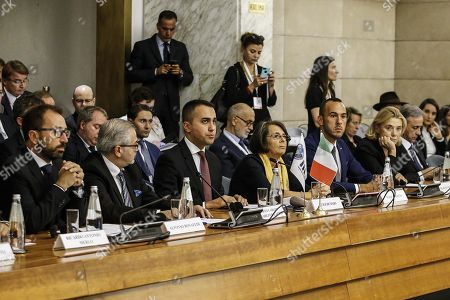 (L to R) Minister of Justice, Alfonso Bonafede, President of the IILA and Ambassador of Paraguay, Roberto Melgarejo, Minister of Foreign Affairs and International Cooperation, Luigi Di Maio, Deputy Minister of Foreign Affairs and International Cooperation, Marina Sereni and Undersecretary of the Ministry of Foreign Affairs and International Cooperation, Manlio Di Stefano, during the 9th Italy-Latin America and Caribbean Conference on the theme 'Together for sustainable growth' at the headquarter of Ministry of Foreign Affairs and International Cooperation, Farnesina palace, Rome, Italy, 10 October 2019.
