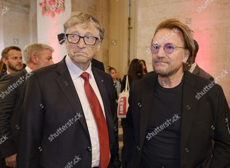 Bill Gates and Bono attend the sixth Replenishment Conference of the Global Fund to Fight AIDS, Tuberculosis and Malaria