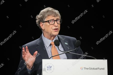 Microsoft founder, Co-Chairman of the Bill & Melinda Gates Foundation Bill Gates delivers a speech during a press meeting at the conference of Global Fund to Fight HIV, Tuberculosis and Malaria in Lyon, central eastern France, 10 October 2019. The Global Fund to Fight AIDS, Tuberculosis and Malaria opened a drive to raise 14 billion US to fight a global epidemics but face an uphill battle in the face of donor fatigue.