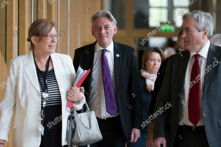 Scottish Parliament First Minister's Questions - Elaine Smith, Richard Leonard, Leader of the Scottish Labour Party, and Iain Gray make their way to the Debating Chamber.