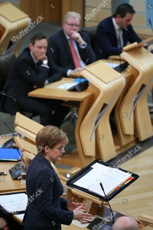 Scottish Parliament First Minister's Questions - Liam Kerr, Jackson Carlaw, Interim Leader of the Scottish Conservative and Unionist Party, Maurice Golden and Nicola Sturgeon, First Minister of Scotland and Leader of the Scottish National Party (SNP)