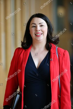 Scottish Parliament First Minister's Questions - Monica Lennon makes her way to the Debating Chamber.