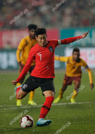 South Korea's Son Heung-min scores from a penalty against Sri Lanka during their Asian zone Group H qualifying soccer match for the 2022 World Cup at Hwaseong Sports Complex in Hwaseong, South Korea