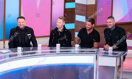 Stock Image of Boyzone - Keith Duffy,, Ronan Keating, Mikey Graham, Shane Lynch