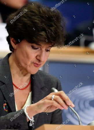 Stock Photo of European Commissioner-designate in charge of Internal Market from France, Sylvie Goulard, during her second hearing before the European Parliament in Brussels, Belgium, 10 October 2019. Goulard was rejected by a vote of 82 MEPs against 29.