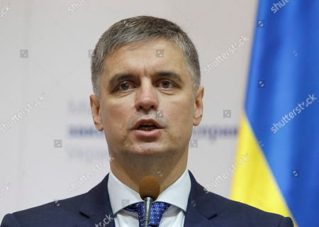 Stock Picture of Ukraine's Foreign Minister Vadym Prystaiko speaks during a joint press conference with his Netherlands' counterpart Stef Blok (not pictured) in Kiev, Ukraine, 10 October 2019. Stef Blok visits Ukraine to meet with top Ukrainian officials.