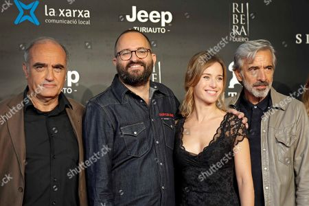 Fernando Gonzalez (2-L) poses with actors/cast members Francesc Orella (L), Marta Etura (2-R) and Imanol Arias (R) during the premiere of the movie 'Legado en los huesos' (lit.: Legacy in the Bones) at the 52nd Sitges International Fantastic Film Festival of Catalonia, in Sitges near Barcelona, Spain, 10 October 2019. The film festival runs from 03 to 13 October.