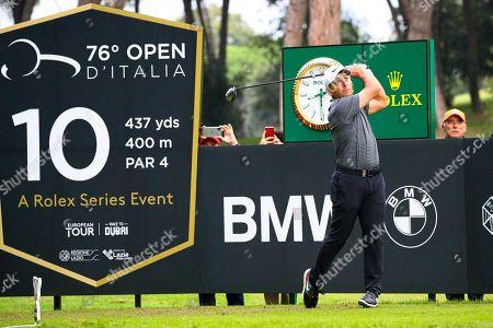 Italian Francesco Molinari tees off on the 10th hole during the Golf Italian Open 2019, Rome, 10 October 2019.