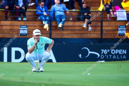 English Tyrrell Hatton in action on the 18th hole during the first day of the Golf Italian Open 2019, Rome, 10 October 2019.