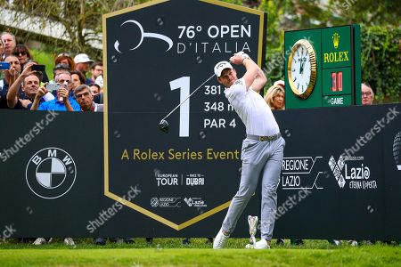 Stock Image of Danny Willett of England tees off on the first hole during the Golf Italian Open 2019, Rome, 10 October 2019.