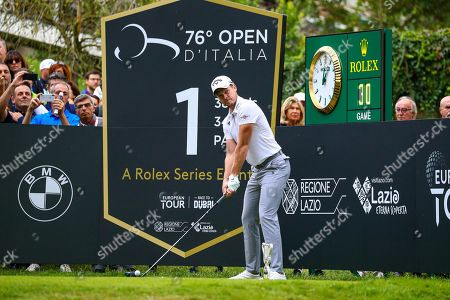 Danny Willett of England tees off on the first hole during the Golf Italian Open 2019, Rome, 10 October 2019.