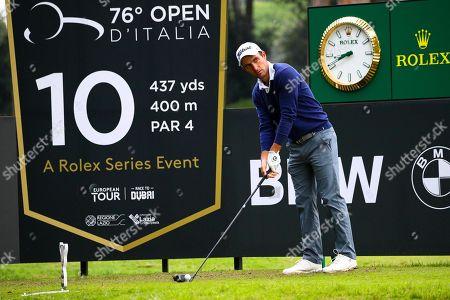 Stock Photo of Italian Edoardo Molinari tees off on the 10th hole during the Golf Italian Open 2019, Rome, 10 October 2019.