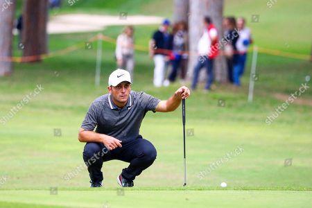 Italian Francesco Molinari lines up a putt during the Golf Italian Open 2019, Rome, 10 October 2019.