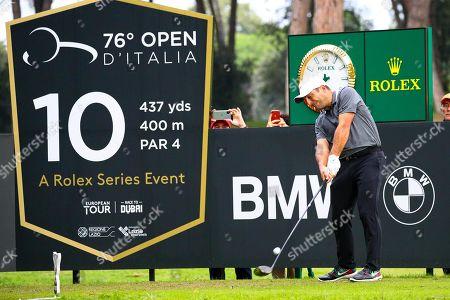 Italian Francesco Molinari tees off at the tenth during the Golf Italian Open 2019, Rome, 10 October 2019.