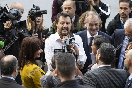 The leader of the League, Matteo Salvini (C), and Roberto Calderoli (R) and other senators, answers to the reporters, Rome, Italy, 10 October 2019. Salvini is in Piazza Cavour to give to the Supreme Court the proposal of the new electoral law.