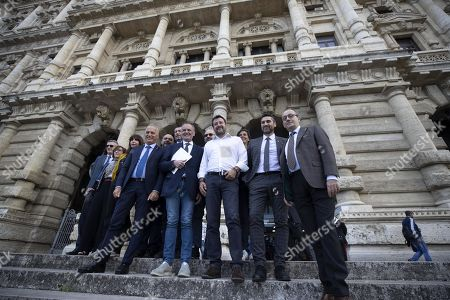 The leader of the League, Matteo Salvini (C-R), together with Roberto Calderoli (C-L) and other senators, in Piazza Cavour to give to the Supreme Court the proposal of the new electoral law, Rome, 10 October 2019. Salvini is in Piazza Cavour to give to the Supreme Court the proposal of the new electoral law.