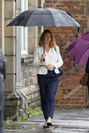 Rebecca Thomas, the wife of Geraint Thomas, arrives at the Coroner's Court