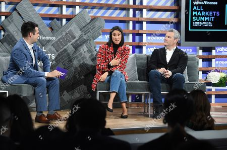 Zack Guzman, Eva Chen, Mark D'Arcy. Instagram director of fashion partnerships Eva Chen, center, and Facebook chief creative officer Mark D'Arcy, right, participate in the Yahoo Finance All Markets Summit at Union West, in New York