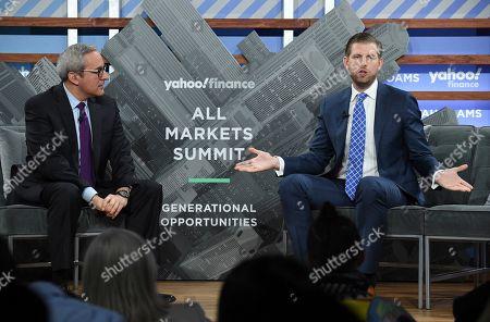 Adam Shapiro, Eric Trump. Yahoo Finance news anchor Adam Shapiro, left, talks with Trump Organization executive vice president Eric Trump during the Yahoo Finance All Markets Summit at Union West, in New York