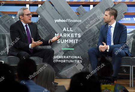 Stock Picture of Adam Shapiro, Eric Trump. Yahoo Finance news anchor Adam Shapiro, left, talks with Trump Organization executive vice president Eric Trump during the Yahoo Finance All Markets Summit at Union West, in New York