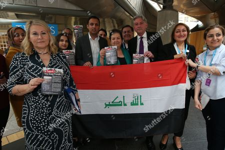The Scottish Iraqi Association photocall at The Scottish Parliament - Pauline McNeill, Anas Sarwar, Jackie Baillie, Richard Leonard, Leader of the Scottish Labour Party and members of The Scottish Iraqi Association pose with the flag of Iraq