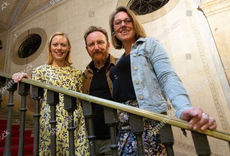 Assistant director Leigh Toney and cast members Antony Byrne and Lucy Phelps, members of the Royal Shakespeare Company, present the stage production 'Measure for Measure' as part of the Temporada Alta theater festival in Barcelona, Spain, 10 October 2019. The play will be presented on 11 October at the Girona's Teatre Municipial, in Catalonia.