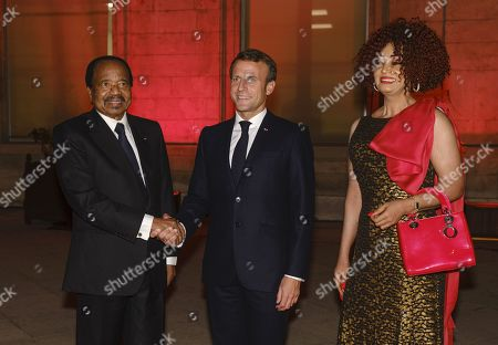 French President Emmanuel Macron, President of Cameroon Paul Biya and Chantal Biya attend the Sixth Replenishment Conference of the Global Fund to Fight AIDS, Tuberculosis and Malaria.