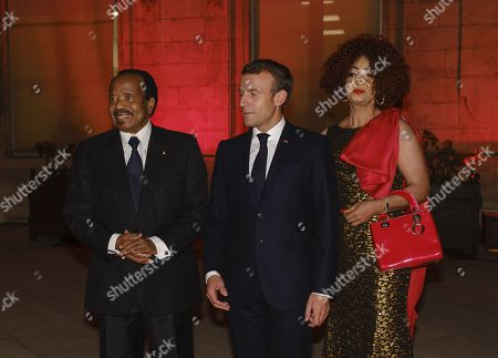 Stock Photo of French President Emmanuel Macron, President of Cameroon Paul Biya and Chantal Biya attend the Sixth Replenishment Conference of the Global Fund to Fight AIDS, Tuberculosis and Malaria.