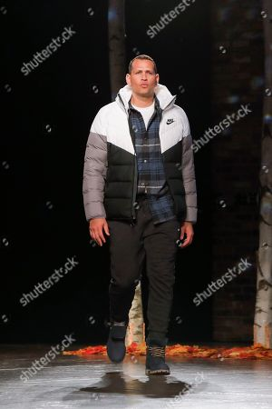 Alex Rodriguez moves down the runway in Nike and Timberland boots in first-ever DICK'S Sporting Goods fashion show on in New York