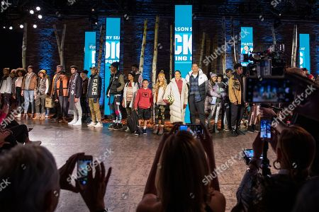 Alex Rodriguez, Carli Lloyd, Demi Burnett and Javon 'Wanna' Walton (right to left) pose alongside models during first-ever DICK'S Sporting Goods fashion show, in New York