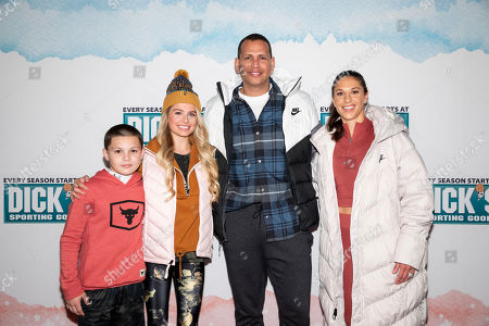Javon 'Wanna' Walton, Demi Burnett, Alex Rodriguez and Carli Lloyd (left to right) pose on red carpet at first-ever DICK'S Sporting Goods fashion show, in New York